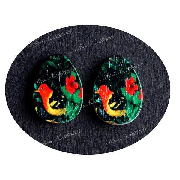 13x18mm Bird Tear Drop Shape  Painted Wood Laser Cut Cabochon to make DIY  Rings, Earrings, Brooch, Necklace pendant