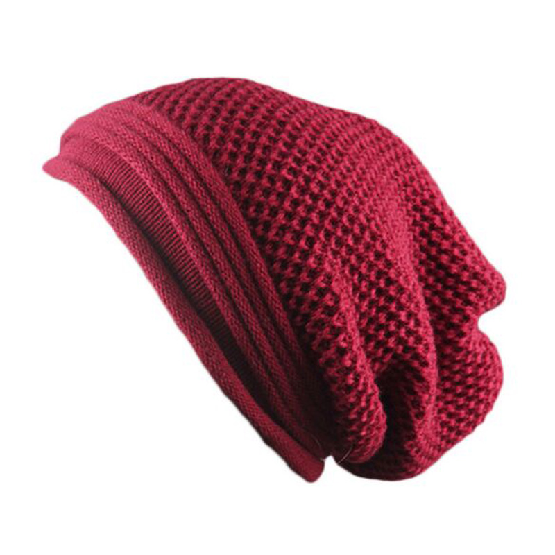 XEONGKVI Europe American Brand Pure Color Fold Knitted Caps Winter Wammer   Skullies     Beanies   Acrylic Hats For Women And Men