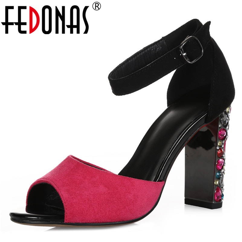 FEDONAS New Sexy Elegant Peep Toe Crystal Decoration Square Heels Women Sandals Fashion Mixed Colors Kid Suede Party Prom ShoesFEDONAS New Sexy Elegant Peep Toe Crystal Decoration Square Heels Women Sandals Fashion Mixed Colors Kid Suede Party Prom Shoes