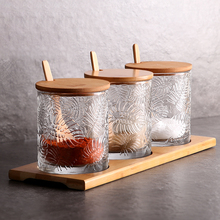 3PCs Glass Nordic Rain-forest Spice Box With Tray Visible Pepper Herb Sugar Salt Seasoning Storage Bottle Kitchen Cooking Tool