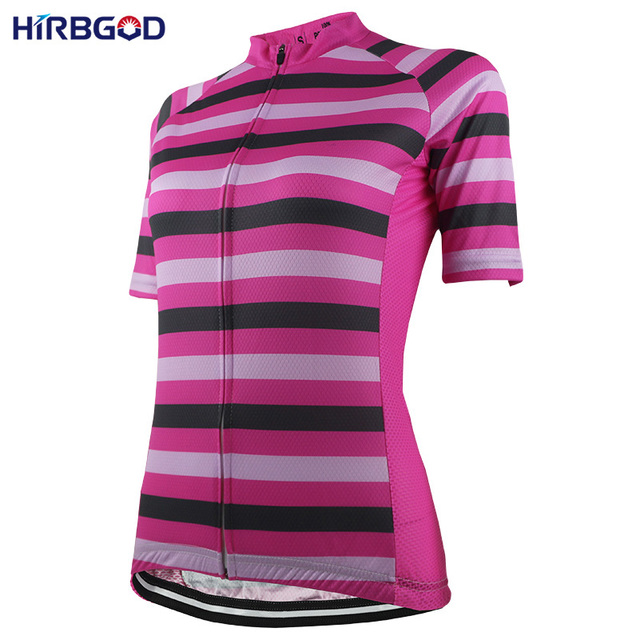 f2caf9029 HIRBGOD Womens Short Sleeve Bike Jersey Lady Stripe Lightweight Outdoor  Sport Cycling Jersey Bicycle Wear Shirt Clothing-NR185