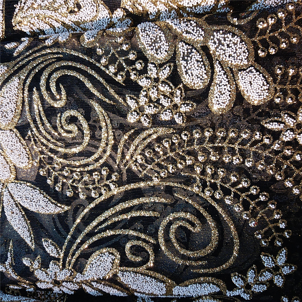 Black And Gold Shining Glitter Sequins Glued On Embroidery