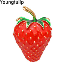 Young Tulip Creative Sweet Strawberry Brooch Women's Pin Exquisite Dress Shirts Enamel Jewelry Accessory For Kids Birthday(China)