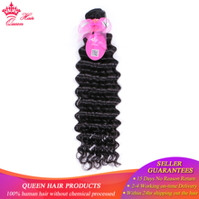 "Queen Hair Products Brazilian Deep Wave Remy Hair Bundles 1 Piece 100% Human Hair Weave 10""~28"" Natural Color"
