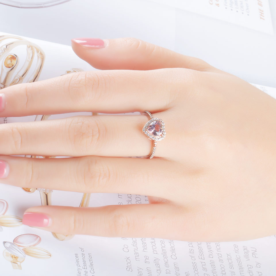 UMCHO Simulate Pink Morganite Real Pure 925 ստերլինգ - Նուրբ զարդեր - Լուսանկար 4