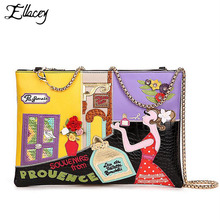 2016 Women Creative Hit Color Stitching Shoulder Bag Clutch Bag ELLACEY Brand Designer Genuine Leather Chain Bag Crossbody Bag