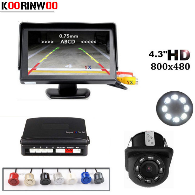 Koorinwoo Parktronic Video System Car Parking Sensor 4 Probes Rear view Camera 4 3inch Car Monitor