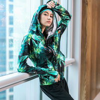 Sports Jerseys Women Fitness Breathable Sportswear Women Jacket Leaf T Shirt Waterproof Sport Top Workout Tops for Female Green