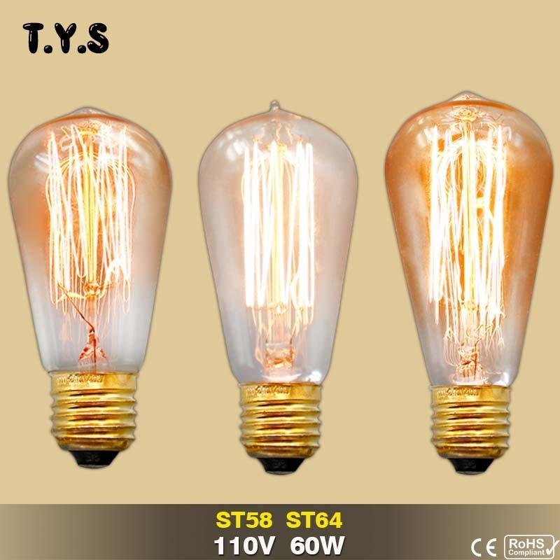 110V 60w Lampada Edison Bulb Lamp Vintage Socket E27 Ceiling Lights Filament Light Bulb DIY Rope Pendant Lamp Retro Luminaria