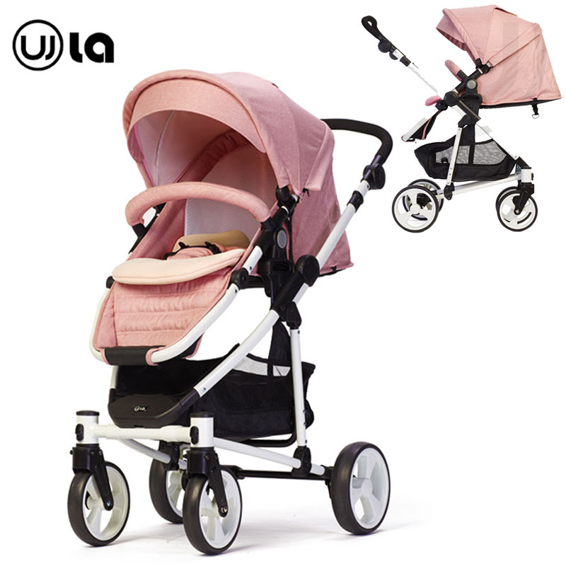 Bi directional Push Handle High Landscape Baby Stroller Four Wheels Can Sit Lie Flat One Second Folding Luxury Joggy Stroller