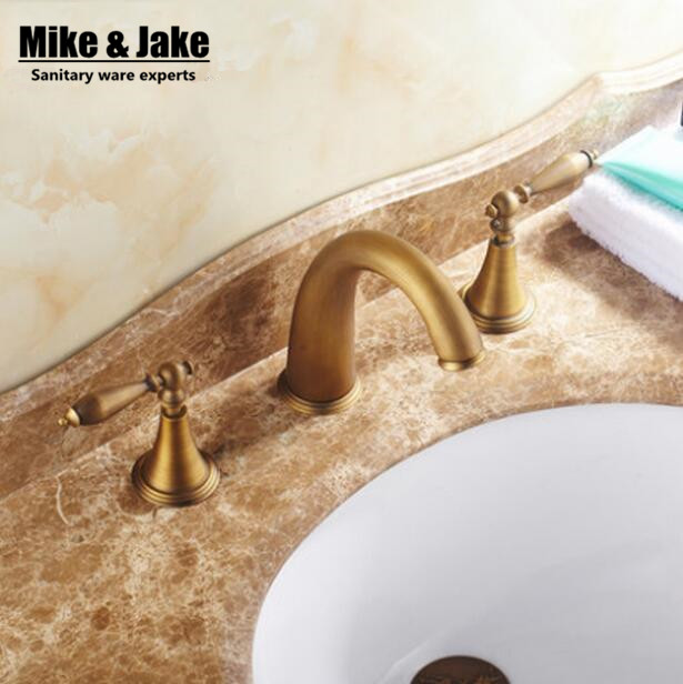 Double handle Antique basin tap 3pcs set deck mounted antique brass faucet bathroom sink tap basin mixer vintage bathroom tap ulgksd basin sink faucet deck mounted mixer tap antique brass single handle bathroom faucet