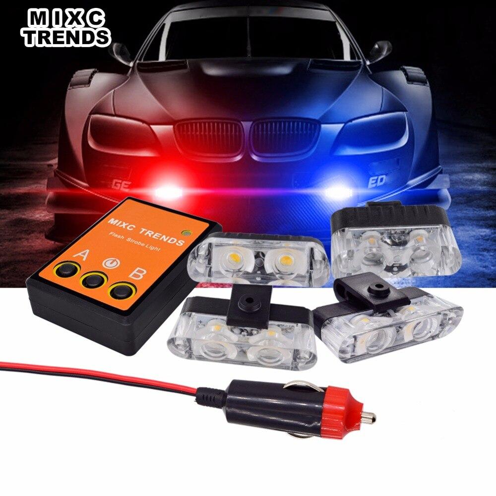 4Pcs 12V LED Emergency Flashing Lights Police Red Blue Amber Car Strobe Light Kit With Flasher Controller Cigarette lighter Plug
