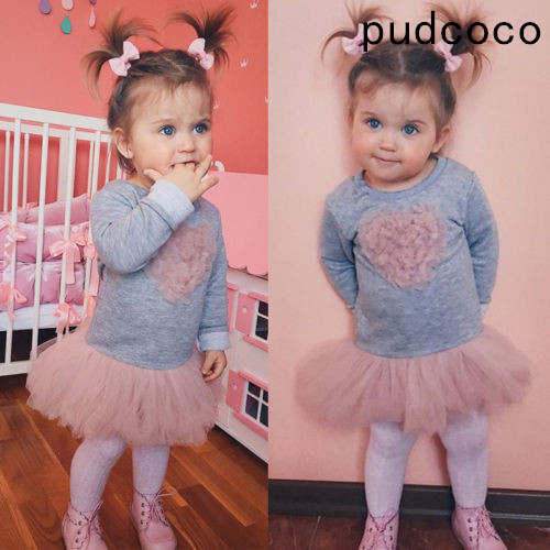 Pudcoco Tutu Lace Long-Sleeve Toddler Baby-Girls Colors Kids Dressoutfits Heart Sweet