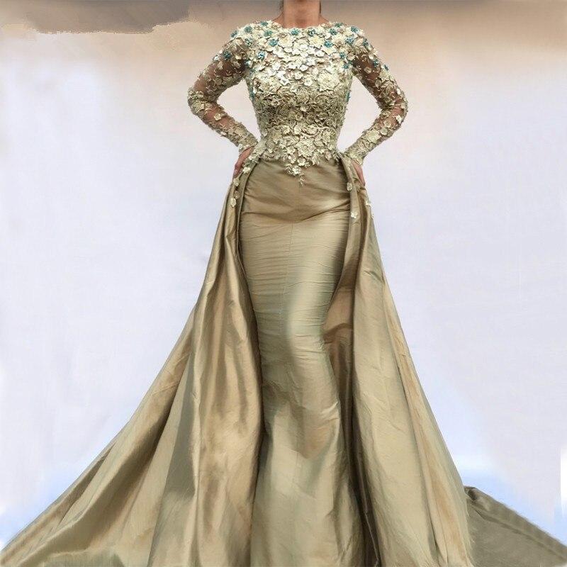 Detachable Muslim   Evening     Dresses   2019 Mermaid Long Sleeves Pearls Lace Islamic Dubai Saudi Arabic Long Formal   Evening   Gown