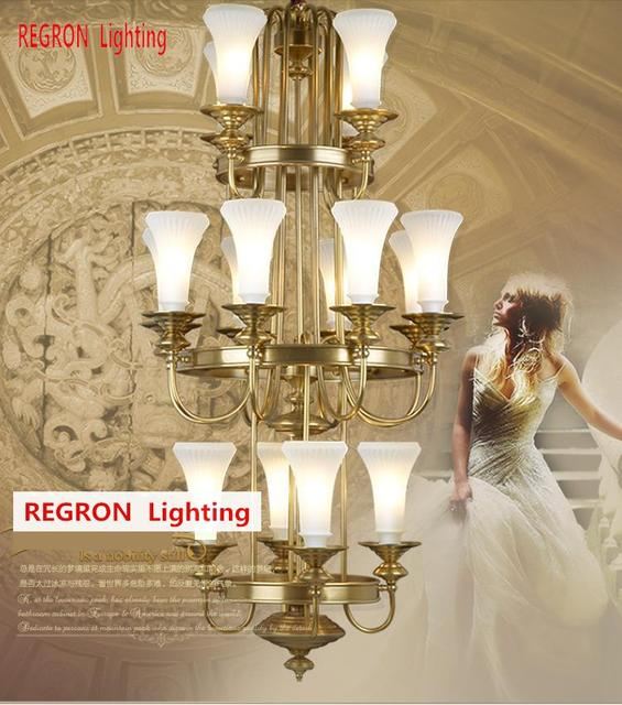 Regron Retro Chandelier Vintage 3-layer Large Copper Chandelier White Glass Lampshade Brilliant Hanging Lamp For Church Castle