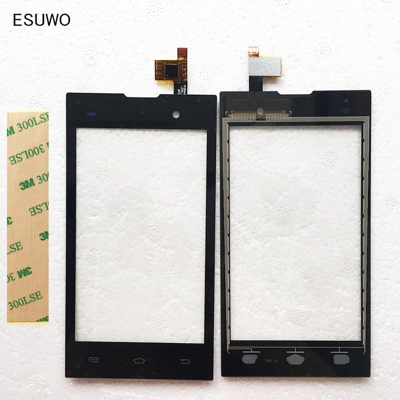 ESUWO New Phone Touchscreen For Fly IQ4418 era style 4 IQ 4418 Touch Screen Digitizer Panel Front Glass Lens Sensor +3M Sticker