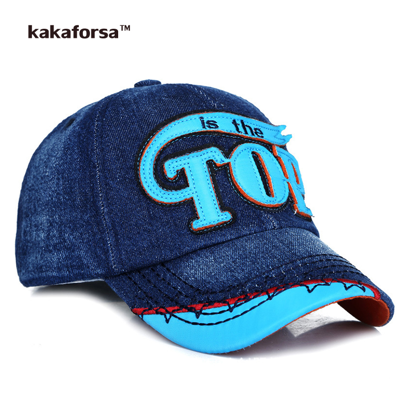Prix pour Kakaforsa Enfants Denim Coton Casquettes de Baseball Enfants Réglable Snapback Chapeaux Lettre Broderie Chapeau de Soleil pour Filles Garçons
