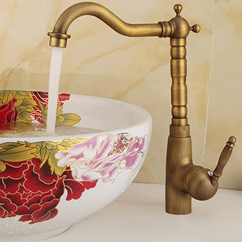 Antique Brass Basin Faucet Deck Mounted Bathroom Vanity Sink Faucet 360 Rotation Hot and Cold Water Mixer Tap KD1170Antique Brass Basin Faucet Deck Mounted Bathroom Vanity Sink Faucet 360 Rotation Hot and Cold Water Mixer Tap KD1170