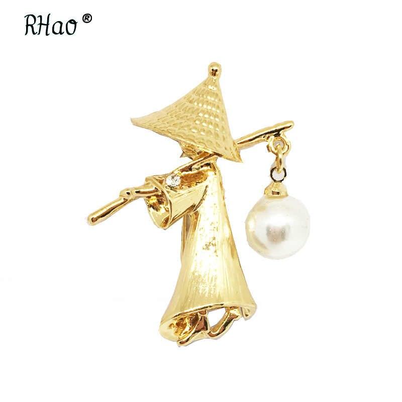 Lucu Mr Topi mutiara Kuno Pengusaha aksesoris Emas-warna Pin perhiasan Bros Untuk Wanita Anak Pakaian Klip Aksesoris