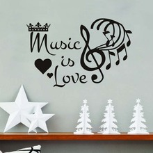 Music Is Love Crown Musical Notes Wall Stickers For Kids Room Pvc Self Adhesive Vinyl Decals Home Decor Removable Wallpaper