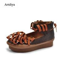 Artdiya Original Retro Handmade Women Shoes Genuine Leather Platform Tassel Shallow Mouth Handmade Shoes 17969
