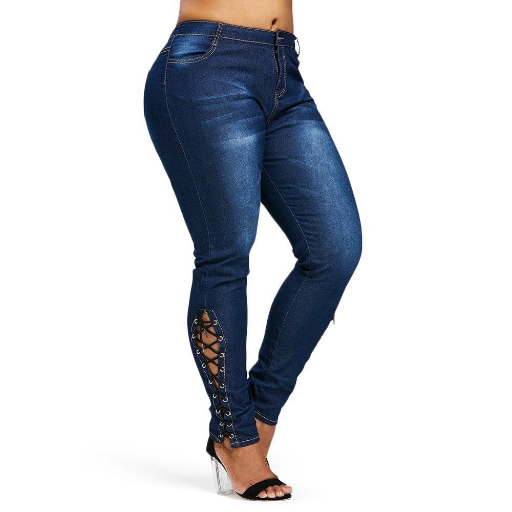 Rosegal Plus Size Zipper Fly Side Lace Up Jeans Skinny High Waist Pockets Denim Pant Women Jeans Pencil Pants Trousers Big Size denim