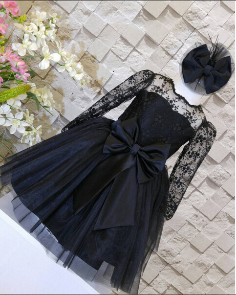 2017 black tulle flower girl dresses for weddings sheer lace cute appliques toddler pageant dress birthday party