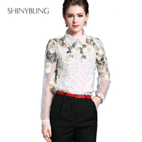 2017 Newest Women See Through Sheer Mesh Blouse Fashion Floral Embroidery Beading Pearl Summer Office Lady