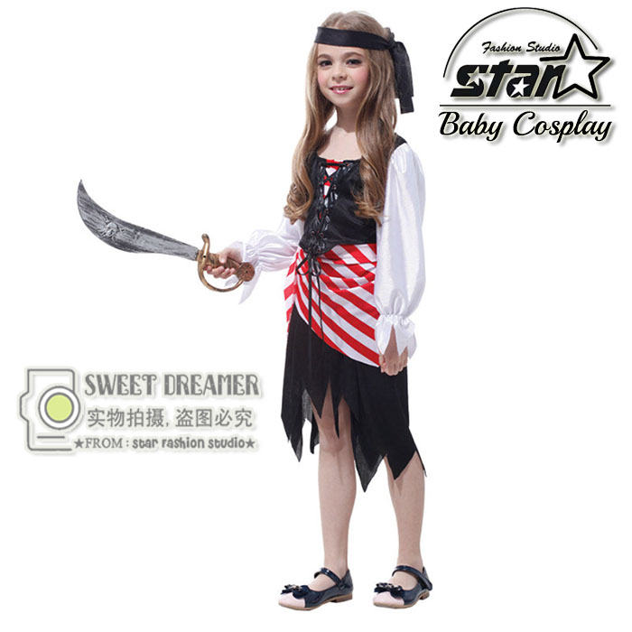 Masquerade Party Halloween Caribbean Pirate Costumes Children Girls Fancy Dress Kids Cosplay Clothes  Hollywood Movie Role-Play стоимость