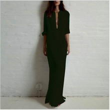 Fashion Vestidos 2018 Summer Women Sexy Casual Dress Long Sleeve Deep V Neck Linen Split Solid Long Maxi Dress Plus Size(China)