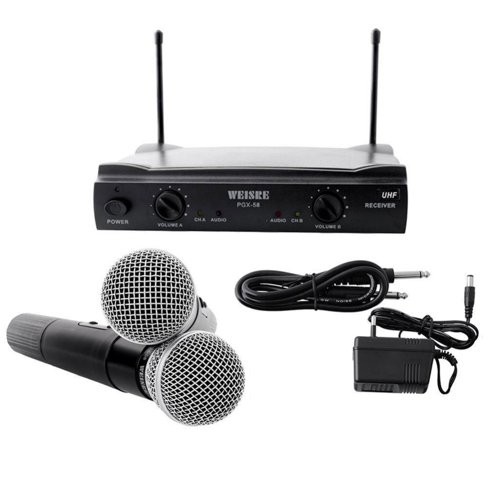 UHF Wireless Microphone Professional wireless Mic Karaoke System +2 cordless MIC for KTV DJ DVD wireless microphone system free shipping professional uhf wireless microphone system mic mike for karaoke ktv stage dj dynamic microfono sem fio microfone