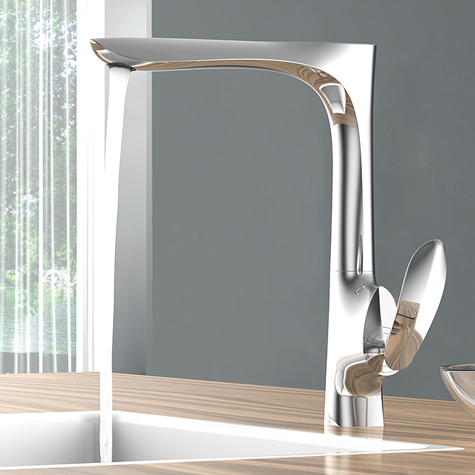 Chrome Modern European Kitchen Sink Faucet American Style Rotatable High Quality Brass Cold And Hot Water Mixer Tap