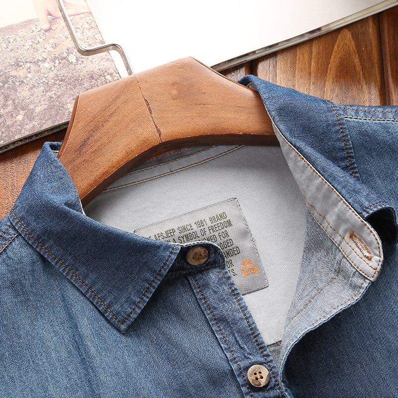Image 3 - Los hombres de moda nuevo verano camisas de manga corta de mezclilla de hombres Casual de algodón de cuello Camisa Hombre Camisasmens denim shirtmale denim shirtdenim shirt -