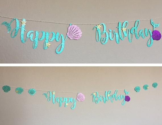 Beautiful Mermaid Party Decoration Glitter Cardboard Blue Letter Garland  PZ98