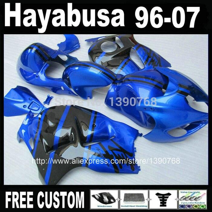 100 new fairing kit for SUZUKI Hayabusa GSX1300R 1996 2007 blue black fairings set GSX 1300R