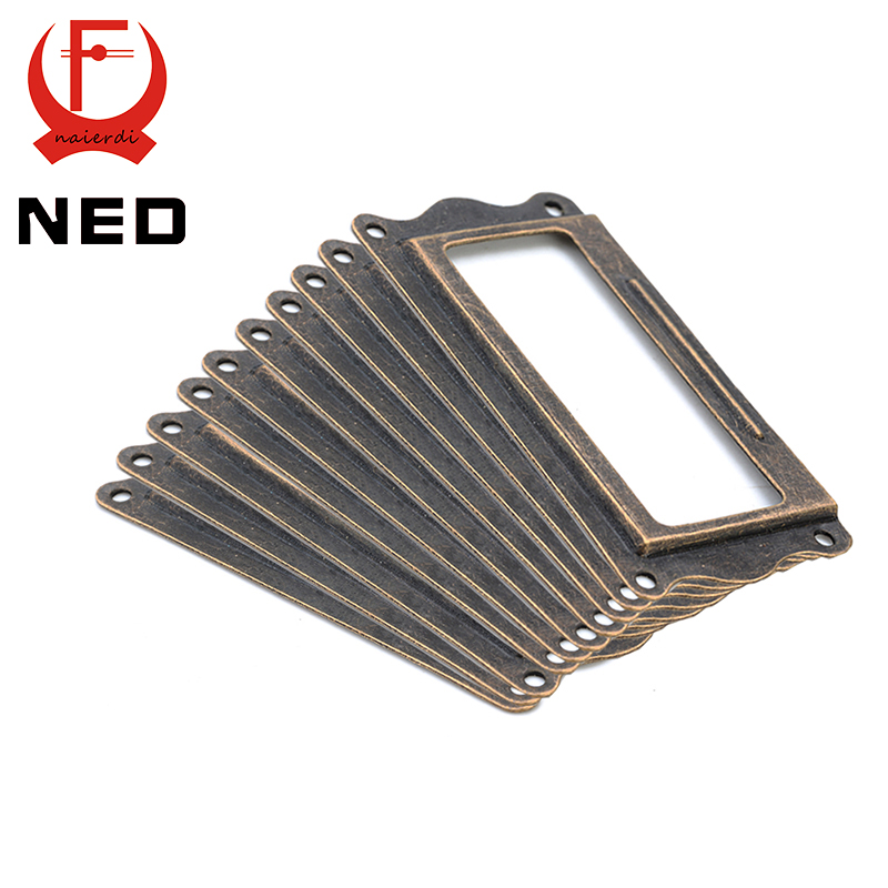 10pcs NED Antique Brass Handle 64*32mm Label Pull Frame Name Card Holder Cabinet Drawer Box Case Knobs For Furniture Hardware 4pcs antique brass jewelry chest wood box decorative feet leg corner brackets protector for cabinet furniture hardware