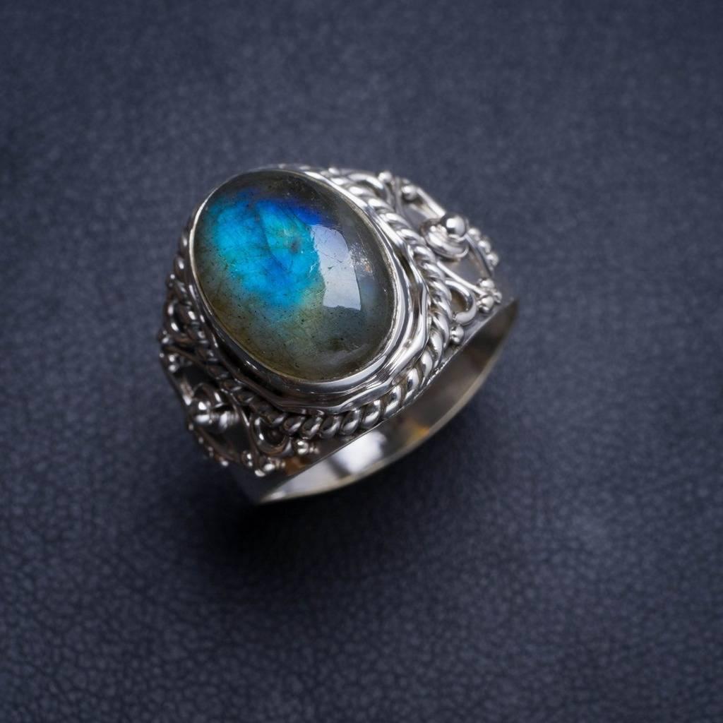 Natural Blue Fire Labradorite Handmade Unique 925 Sterling Silver Ring 7.5 Y4748 natural blue fire labradorite handmade boho 925 sterling silver earrings 1 25 u0962