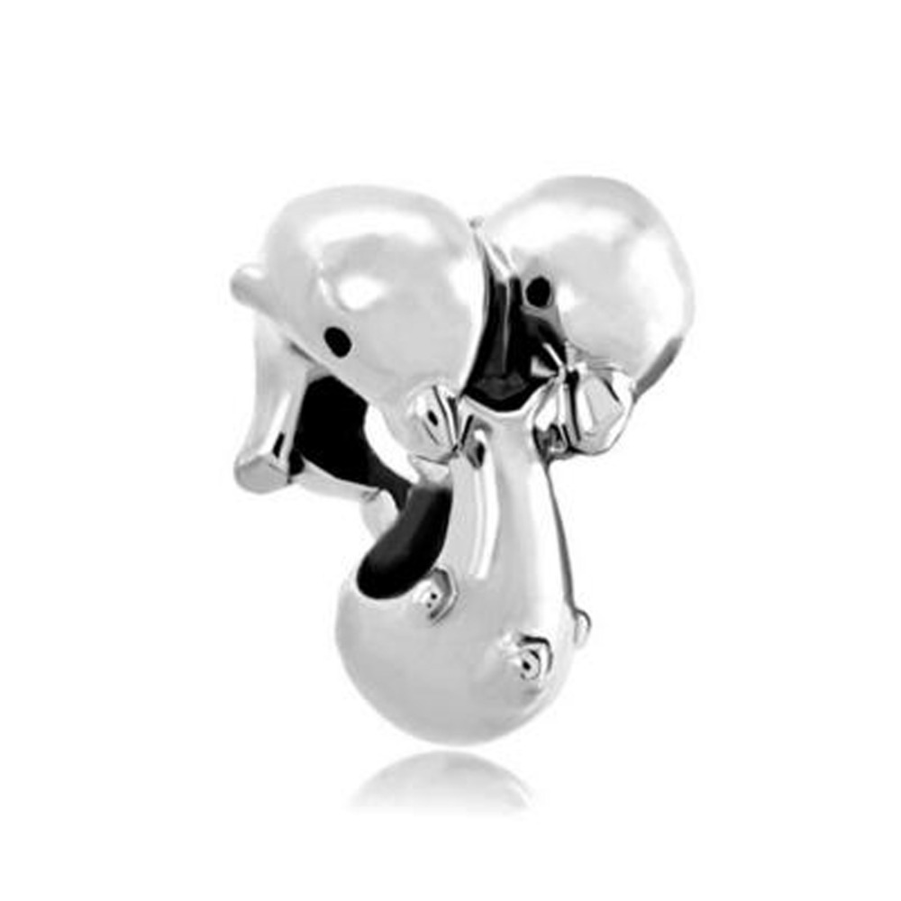Slide Charm Free Shipping Dolphins Swimming A Charm Beads Fit Pandora  Bracelet Mother Lover Christmas Gift