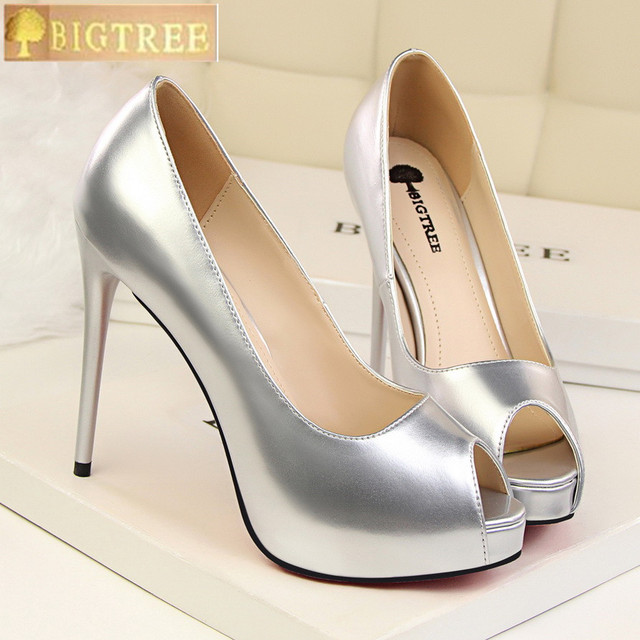 11ca439c6e Fashion Peep Toe Women Pumps 2018 New Concise Patent Leather Shallow High  Heels Shoes Platform Office Shoes Women's Party Shoes