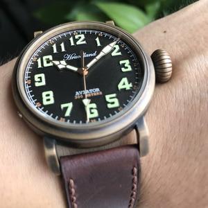 Image 2 - Relojes Retro de piloto para hombre Cusn8, reloj para buzo de bronce, de cristal de zafiro resistente al agua de 300m, reloj de movimiento suizo para hombre