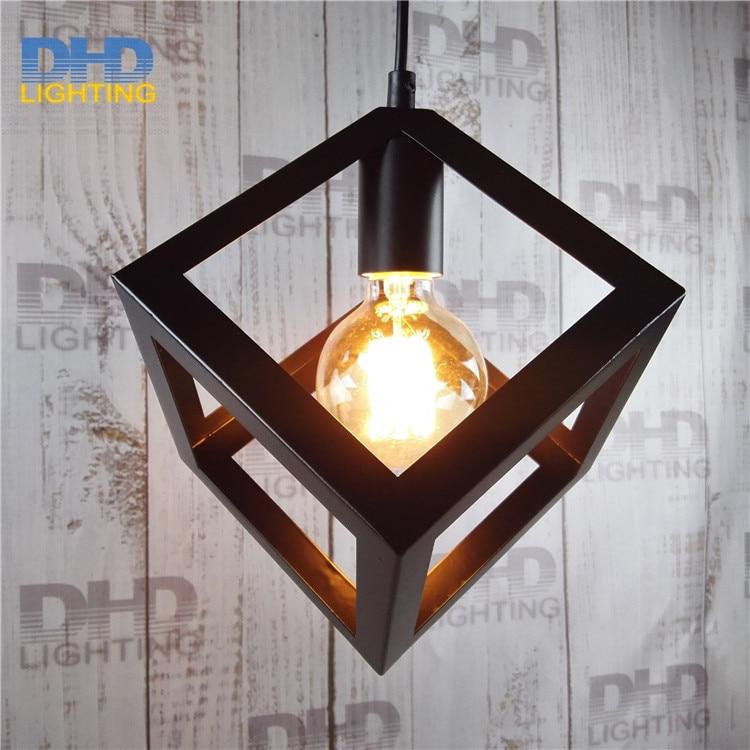 110 240v art deco vintage industrial antique metal square cage pendant light factory wire steel. Black Bedroom Furniture Sets. Home Design Ideas