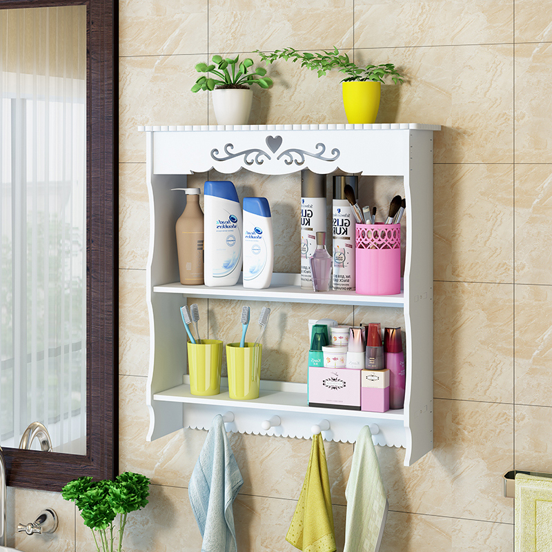 Bathroom shelf wall bathroom wall punch-free waterproof toilet suction wall washbasin storage rack LO5151146 a1 hotel bathroom washbasin wall hanging solid thickening rack space aluminum wall hanging storage rack wx7201648