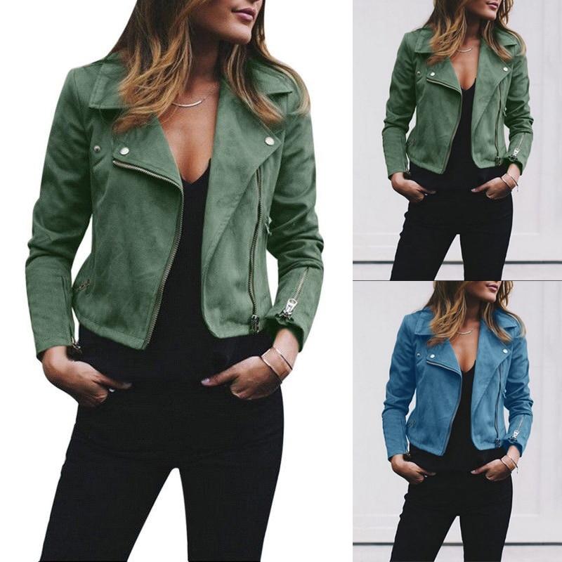 De Femmes 8l1128 Light Outwear Mince Fit Manteau Coupe Veste Moto Slim Casual Zipper Blue Courte À vent Longues Base vert Manches Bomber Unq65gwx5