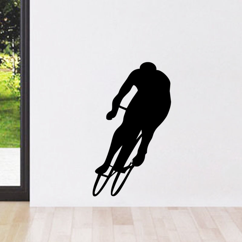 Cycling Silhouette Wall Stickers Boys Room Wall Decoration Vinyl Art Murals Bike Wall Decals Removable ...