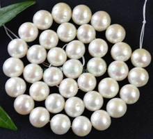 Perle d'eau douce ronde blanche de 11 à 12mm, 14.5 pouces, livraison gratuite, photo à la mode, en vrac
