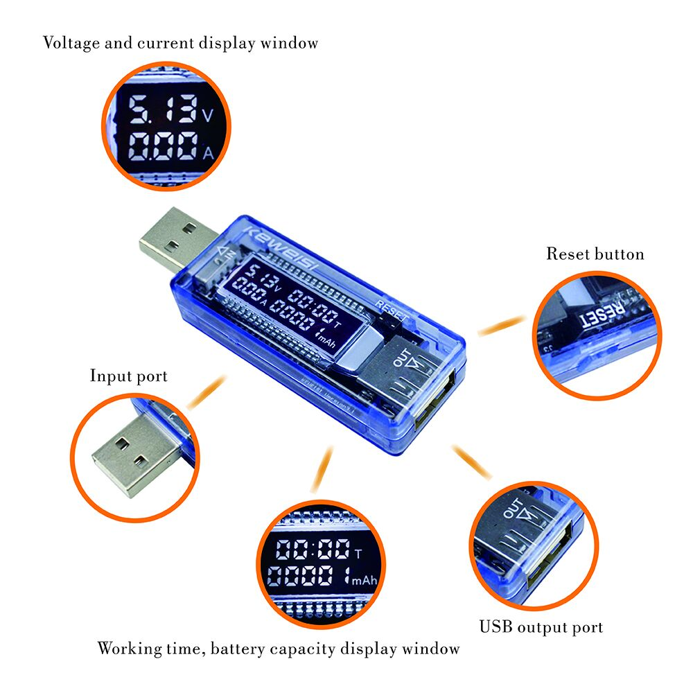 USB srovės ir įtampos įkroviklio testuotojo daktaro galios matuoklis Teksto voltmetras 24