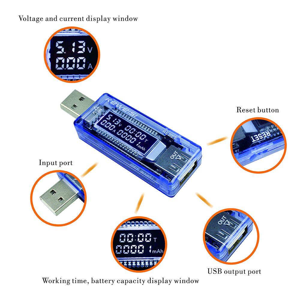 USB電流および電圧充電器容量テスタードクターパワーメーターテキスト電圧計24
