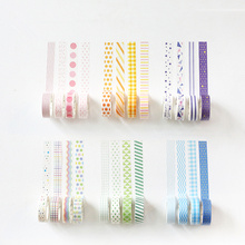 4 pcs Kawaii color washi tapes set  15mm*7m Rainbow decoration tape Pink Blue prints sticker School supplies FJ871