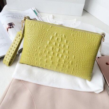 Высококачественный Женский Повседневный клатч, женская сумка-мессенджер из крокодиловой кожи, сумки-клатчи, вечерние сумки, заклепочная рукоять - Цвет: Цвет: желтый