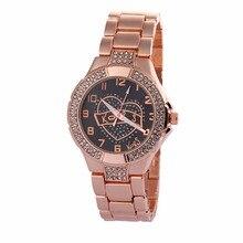 New Luxury Brand Watch Women Metal Rhinestone Crystal Ladies Quartz Watch Montre Femme Analog Display Women's Clock KMF-109C